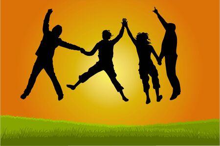 Illustration pour Group of people jumping - image libre de droit