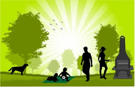 Family picnic in the garden - illustration