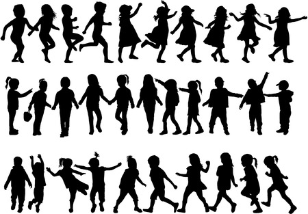 Illustration for children silhouettes - Royalty Free Image