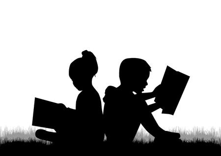 Illustration pour Children reading the book. - image libre de droit