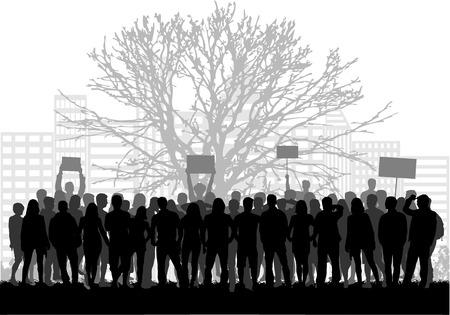 Illustration pour A large group of demonstrators men. - image libre de droit