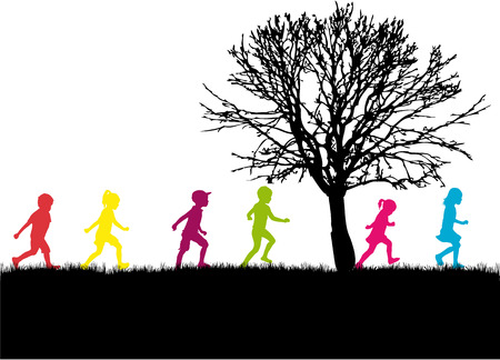 Illustration for Children silhouette in nature . - Royalty Free Image