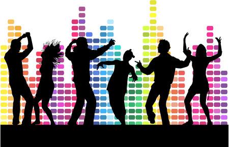 Ilustración de Dancing people silhouettes. - Imagen libre de derechos