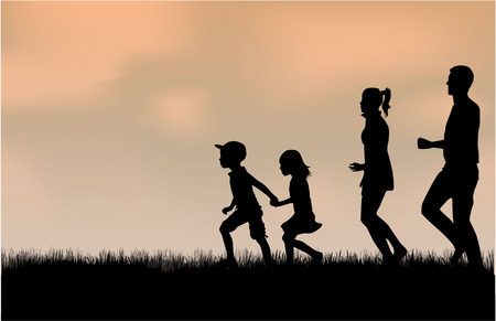 Illustration for Family silhouettes in nature. - Royalty Free Image