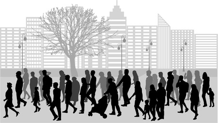 Ilustración de Group of people. Crowd of people silhouettes. - Imagen libre de derechos