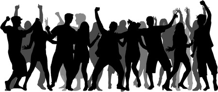 Illustration for Dancing people silhouettes. Large group. - Royalty Free Image