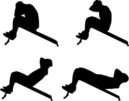 Illustration pour Sports silhouettes.Man doing crunches on the bench. - image libre de droit