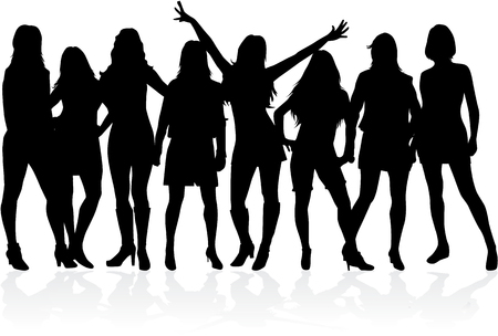 Illustration pour Large group of women - silhouette vector - image libre de droit