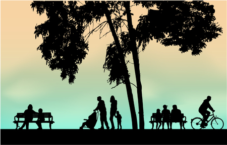 Illustration for People silhouettes urban background. - Royalty Free Image