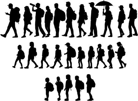 Illustration pour Silhouette people on a walk. - image libre de droit