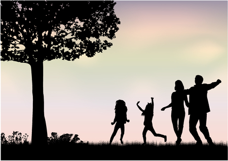 Illustration for Family silhouettes in nature - Royalty Free Image