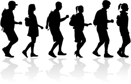 Ilustración de Silhouette people on a walk. - Imagen libre de derechos