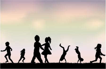 Illustration pour Silhouettes of children playing. Silhouettes conceptual. - image libre de droit