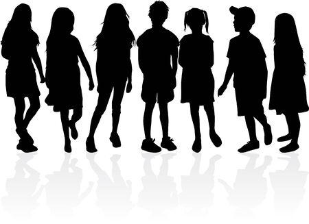 Illustration pour Children black silhouettes. Vector work. - image libre de droit
