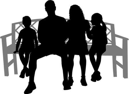 Illustration pour Black silhouettes of people sitting on a bench - image libre de droit