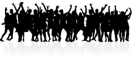 Illustration pour Dancing people silhouettes. Abstract background. - image libre de droit
