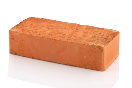single red brick isolated on white background isolate