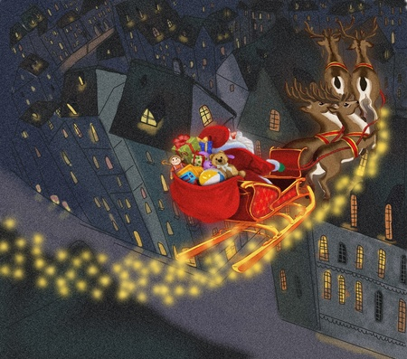 santa claus with gifts on the background of the city.