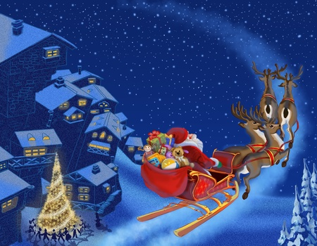 Christmas illustration of Santa Claus