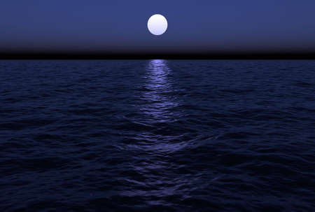 The moon reflects in the water as it hangs just over the horizon in this ocean scenic. This