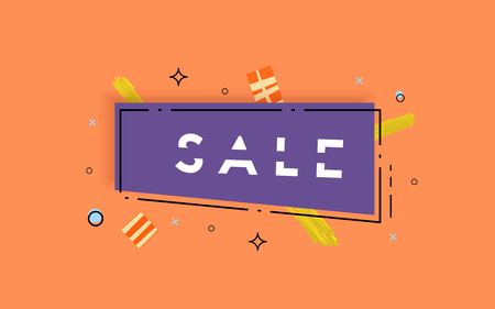 Sale banner with geometric abstract composition. Promotion horizontal card with sliced trendy text. Template with decoration for advertising design. Vector illustration.