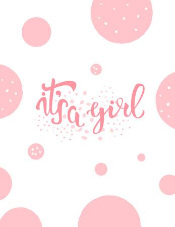 Illustration pour It's a girl baby shower invitation template. Handwritten lettering. Vector illustration. - image libre de droit