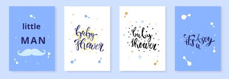 Illustration pour Set of Baby Shower invitation template. It's a boy kit. Handwritten lettering. Vector illustration. - image libre de droit
