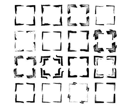 Illustration pour Set of square black frames. Borders collections. Collages elements on white background. - image libre de droit