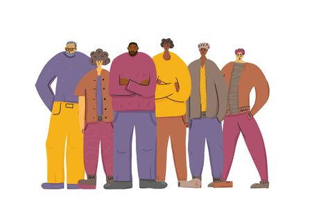 Illustration pour Group of man of different ages standing together. Male characters team isolated on white background. Vector illustration. - image libre de droit