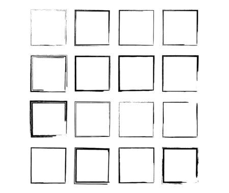 Illustration pour Set of black square grunge frames. Geometric empty borders collection. Vector illustration. - image libre de droit