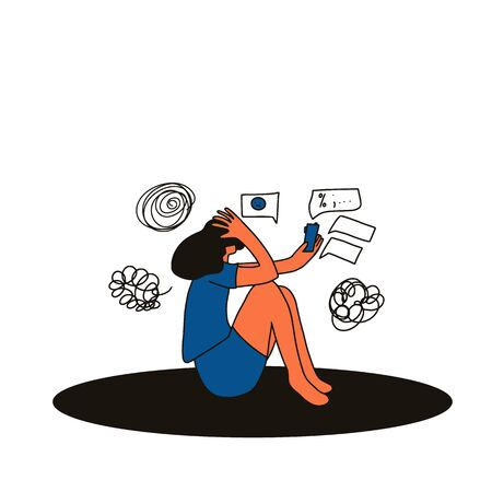Illustration pour Digital information overload. Young female person sitting on the floor with mobile phone and suffering from cyberbullying.Teenage girl reading text messages and get too much social media information.  - image libre de droit