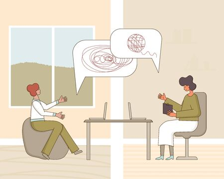 Illustration pour Psychological help online. Counseling concept. Psychologist having  therapy session with stressed patient from home. Couch listening sad man. Vecotor flat illustration. - image libre de droit