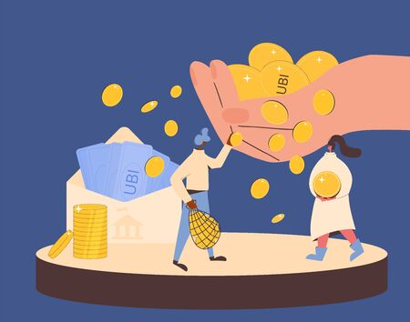 Illustration pour Universal basic income. Unconditional guarantee. Living stipend. Governmental public program for a periodic payment to people. Vector flat illustration. - image libre de droit
