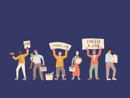 Illustration for Protests against dismissal. Jobless people. Job search. Unemployed in search of work. Group of people shows the sign. - Royalty Free Image