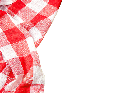 Foto de Red checkered kitchen table picnic cloth isolated on empty copy space white background. - Imagen libre de derechos