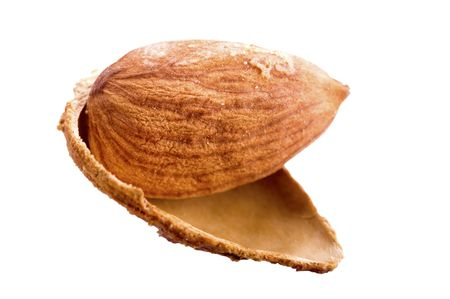 Almonds in shell isolated on white