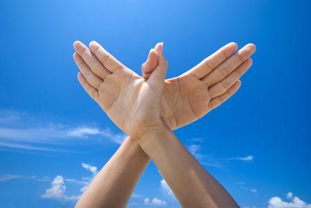 Photo pour Conceptual hand gesture of world peace - image libre de droit