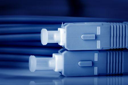 Close up fiber optic cables.