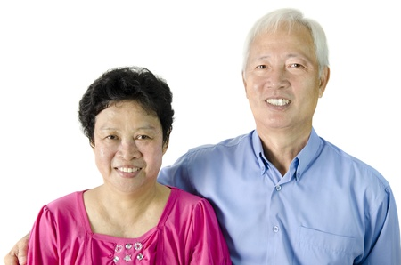 Asian Senior Couple on white background