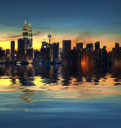 Kuala Lumpur, the capital city of Malaysia, view with water reflection
