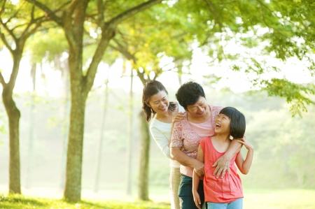 Three generations family having fun at outdoor