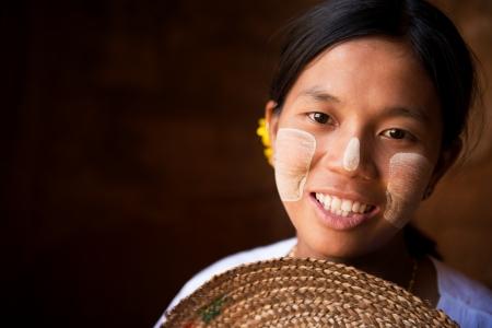 Pretty Myanmar girl is smiling