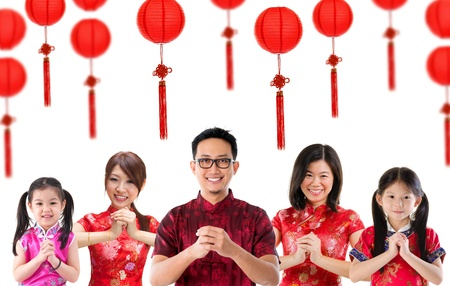 Photo pour Group of Chinese people greeting, Chinese new year concept, isolated over white background. - image libre de droit