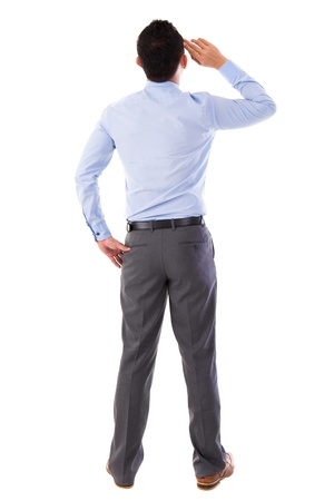 Rear view full body Asian businessman standing isolated white backgroundの写真素材