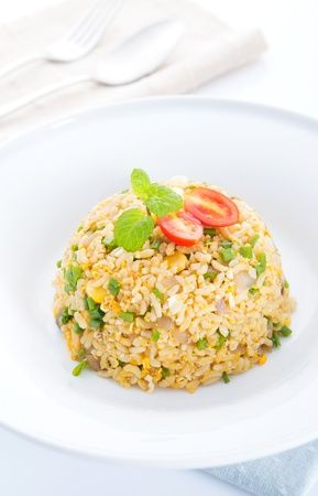 Chinese egg fried rice, Asian vegetarian cuisine ready to eatの写真素材