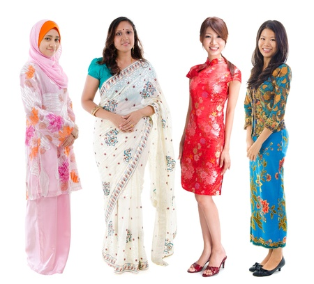Group of Southeast Asian women in different culture. Full body diversity women in different traditional costume standing on white background.の写真素材
