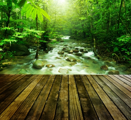 Wooden platform and tropical mountain stream with sunbeam in a morning.