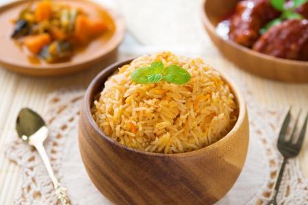 Indian meal biryani rice or briyani rice and curry, fresh cooked, indian dish.