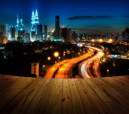 Wood textured backgrounds in a room balcony view. Kuala Lumpur is the capital city of Malaysia.