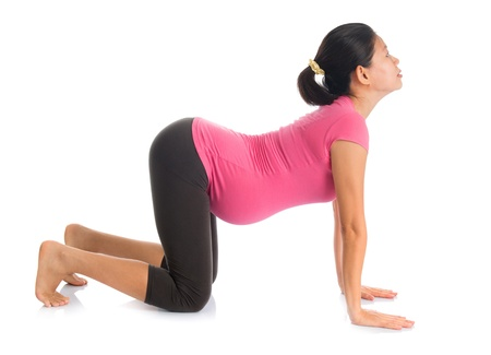 Prenatal yoga meditation. Full length healthy Asian pregnant woman doing yoga meditation at home, fullbody isolated on white background. Yoga cat positions.